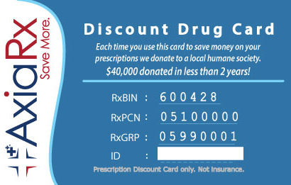 image of a sample AxiaRx prescription discount drug card
