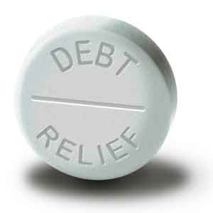 a pill that says debt relief on it